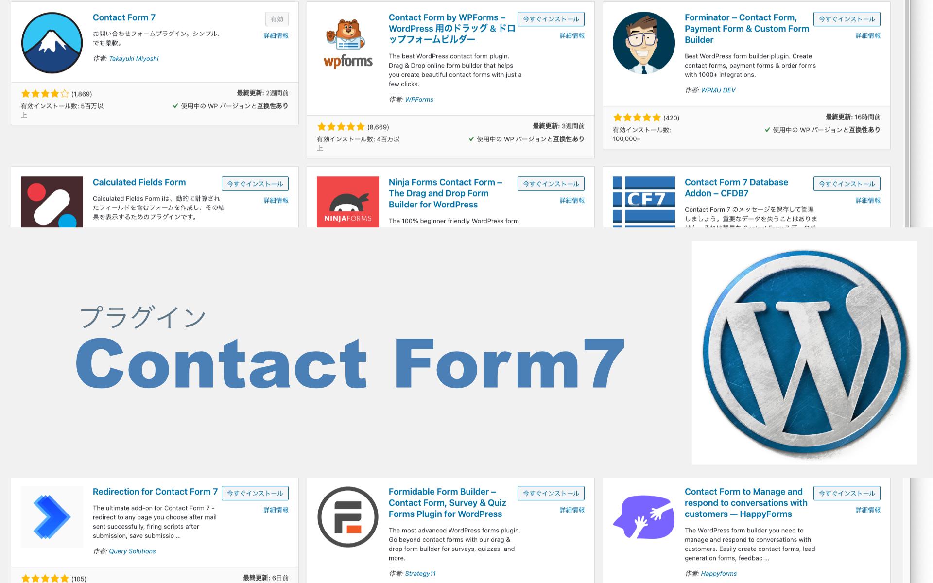 コピペで簡単設定「Contact Form7」WordPressのお問い合わせ用フォームに便利なプラグイン